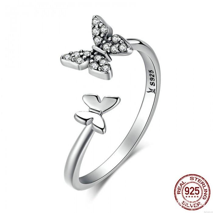 Mode verstellbare Kristall zierliche Tier Versprechen Verlobung Hochzeit Silber Ring niedlichen doppelten Schmetterling offene Ringe