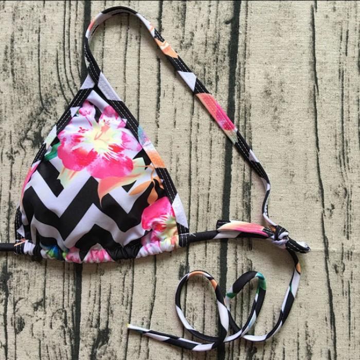 Sexy Damen Streifen Blumendruck Bikini Zwei Stücke Floral rückenfreie Badeanzug