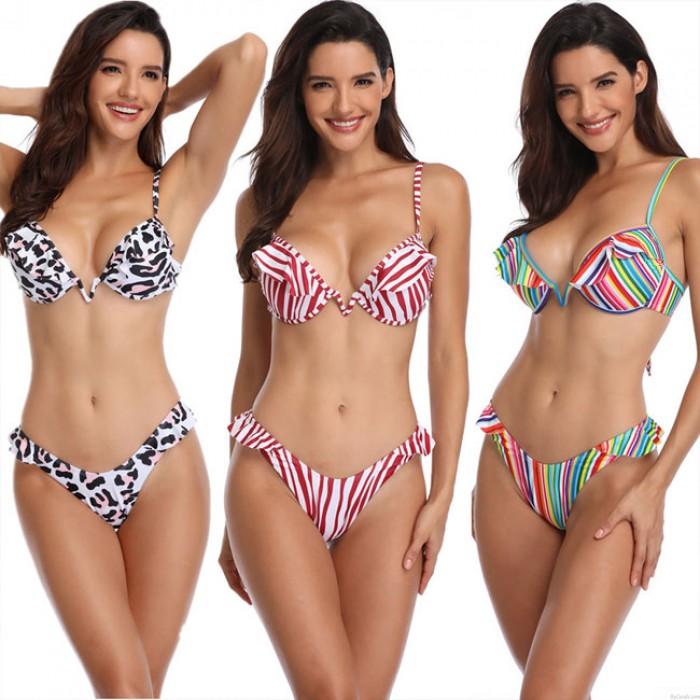 Neue Rüsche Streifen Bunte Leopard Badeanzug Sling Frauen Sommer Bikinis