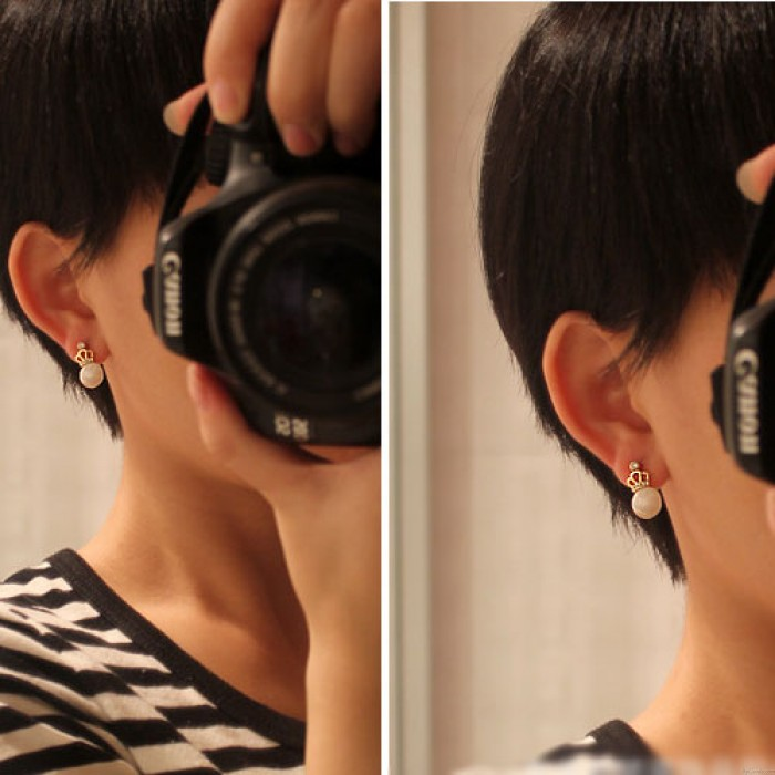 Süße Dame Opal hohle Diamant-Ohrring Kaiserkrone