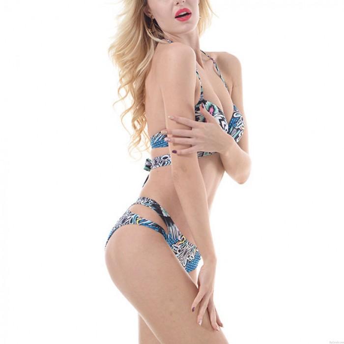 Sexy Volk Totem Printing Halfter aushöhlen Frauen bunten Sling Badeanzug Bikini