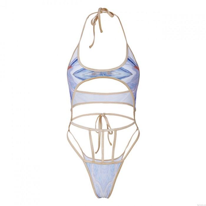 Sexy Contrast Bandage One Piece Sommer Badeanzug Damen Bikini
