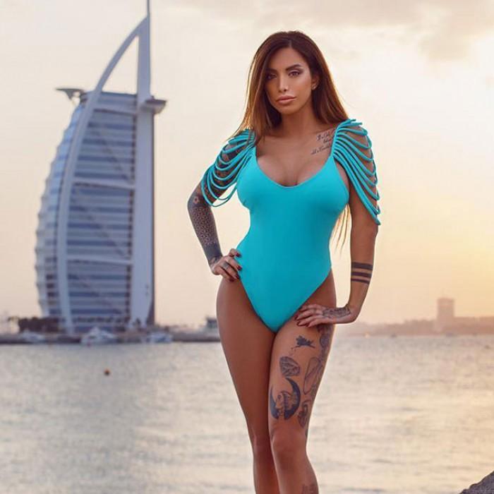 Sexy Ein Stück Strand Badeanzug Frauen Schulter Quasten Bikini