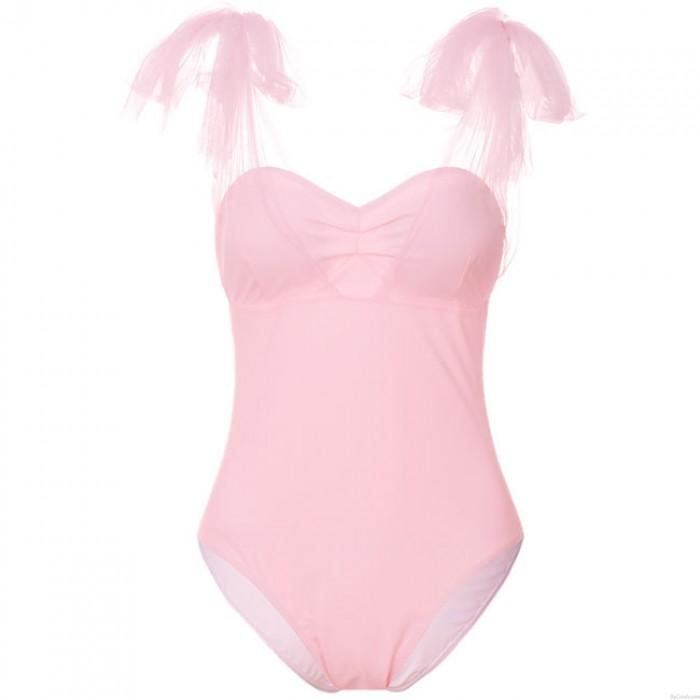 Der reine einteilige Badeanzug Frauen Pure Mesh Net Yarn Spleißen Bikini