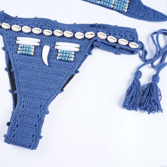 Sexy blau Gestrickte Böhmischen Stil Dekorative Muscheln Quasten Bikini Sommer Badeanzug