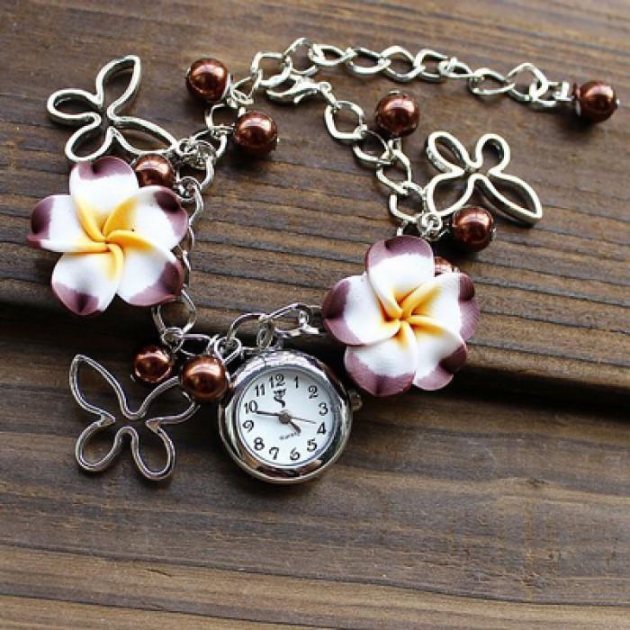 Frisch Perle Blumen Metall Armband Uhr