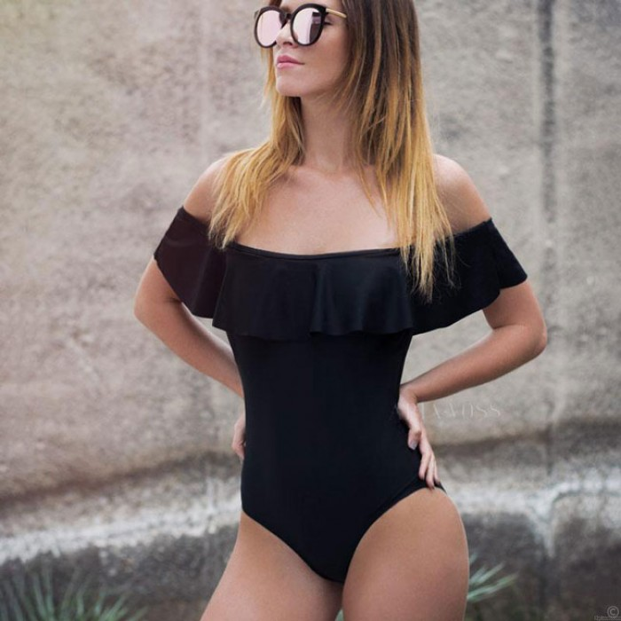 Sexy Streifen Lotus Leaf Bikinis Flounce Bare Schulter Einteiler Damen Badeanzug