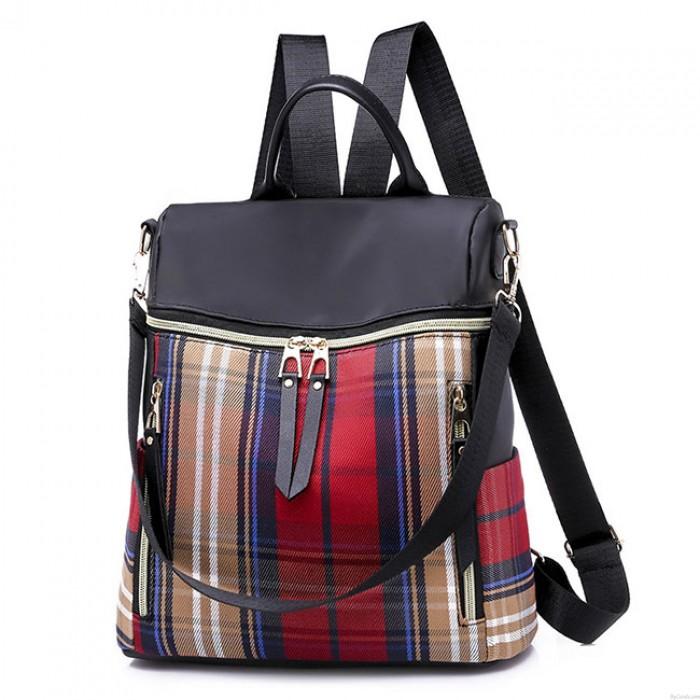 Britischer Art-Plaid-Schultasche-Freizeit-Kontrast-Farbe Multifunktions-Segeltuch-Rucksack