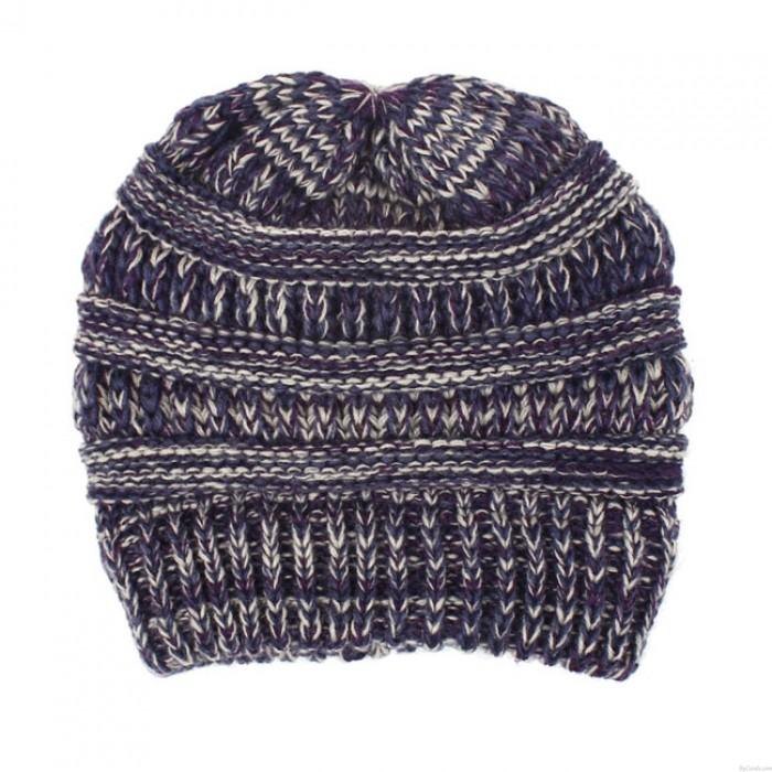 Art- und Weisemischfarbenstrickmultifunktionsstirnbänder unordentlicher Brötchen-weicher warmer Winter-Frauen-Hut
