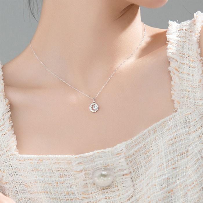 Einzigartiges Design Halbmond Mond Diamant Kristall Silber Pullover Mädchen Halskette