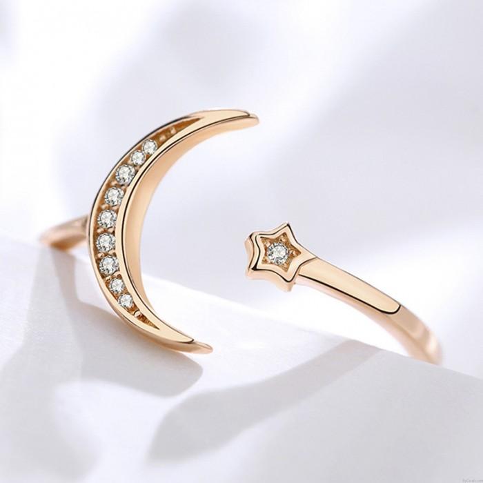 Süßes Valentinstagsgeschenk für Sie Verstellbarer Damenring Mondstern Offener Kristall Silberring