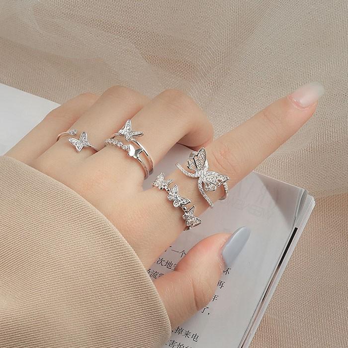 Mode Doppelschicht Schmetterling Hohl Diamant Öffnen Silber Frauen Ring