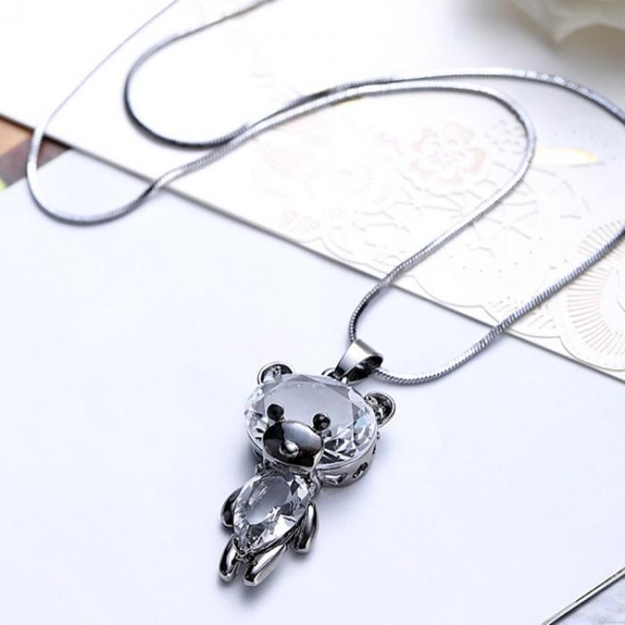 Mode Niedlichen Kristall Tanzen Bär Puppe Anhänger Halskette Tier Pullover Kette Halskette