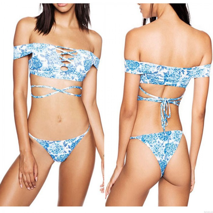 Sexy Schulterfrei Badeanzug Suit Strap Bauch Bikini Set Sexy Bade Bademode