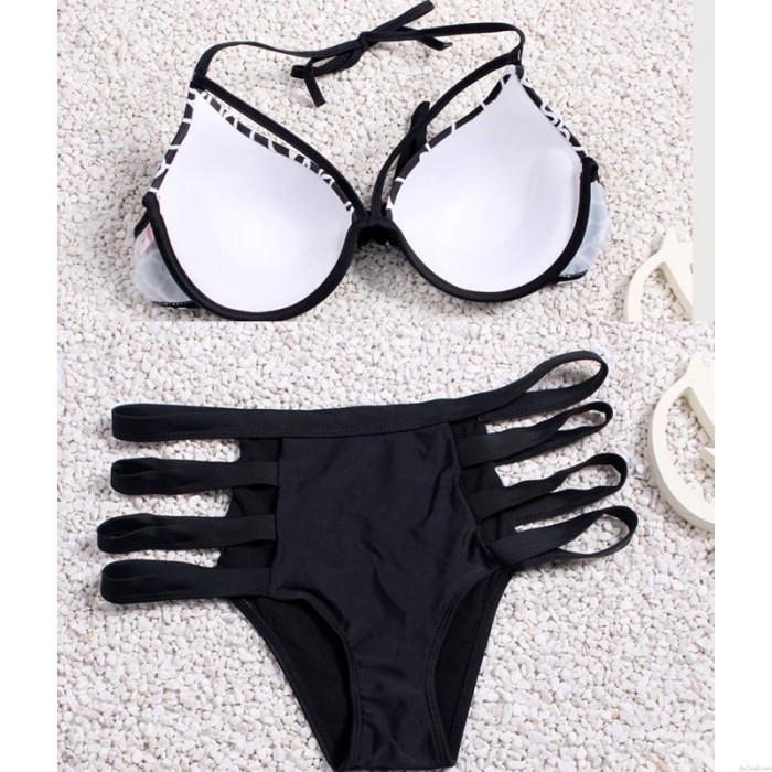 Marble Print Bikini Straps Stair Streak Bikini-gesetzte Badeanzug
