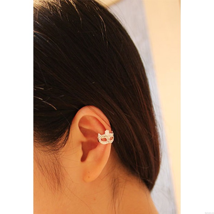 Cool Strass Masque Einzelohrclips