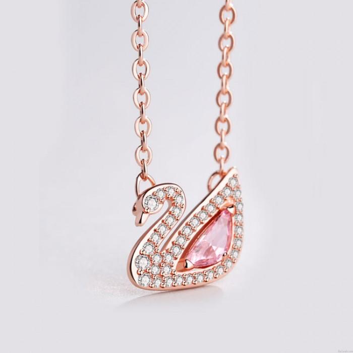Niedlichen Schwan rosa Kristall Strass Anhänger Silber Halskette Liebhaber vorhanden Frauen Halskette