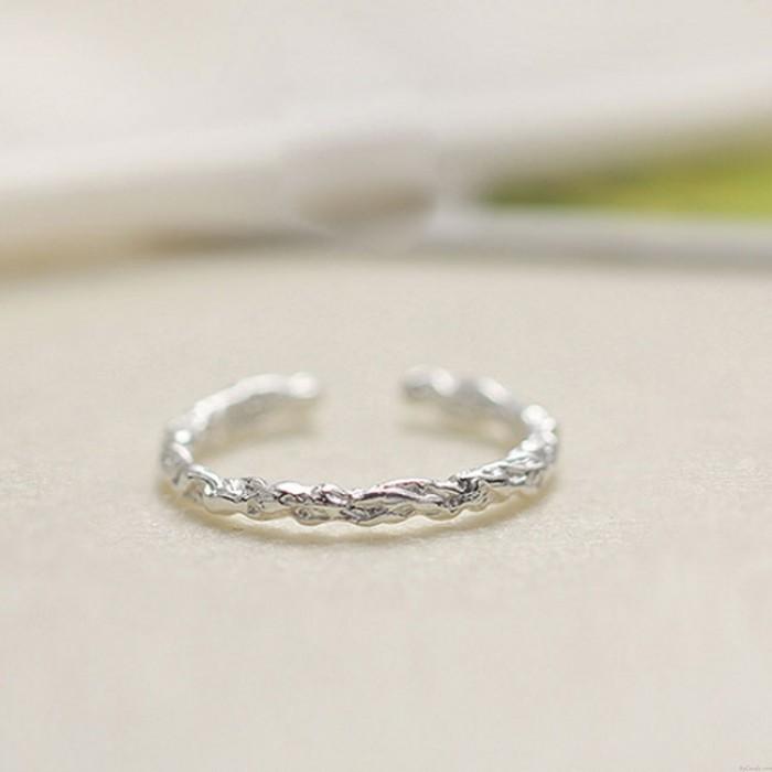 Einfach Liebhaber Geschenk Relief öffnen Silberring