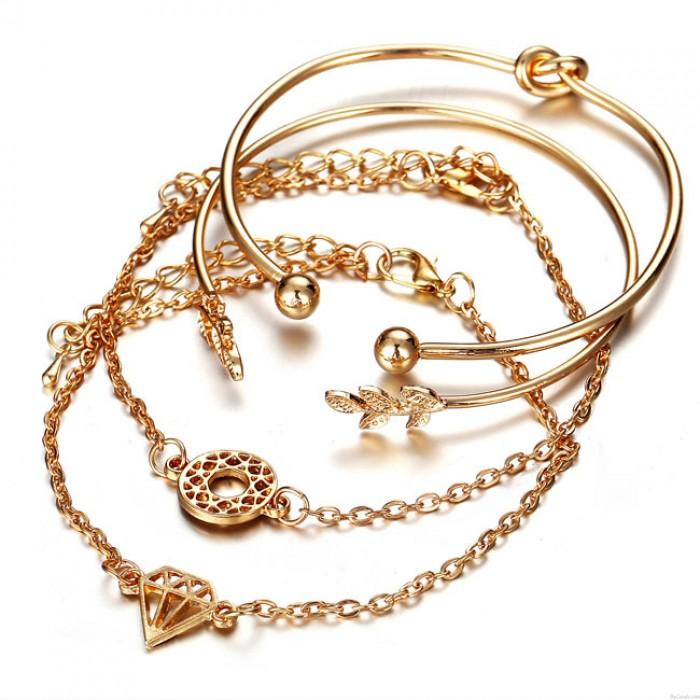 Mode persönlichkeit blatt diamant offen vier stück frauen armband