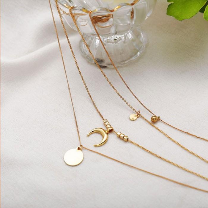 Kreative Mode Persönlichkeit Mehrschichtige Mondscheibe Anhänger Weibliche Halskette