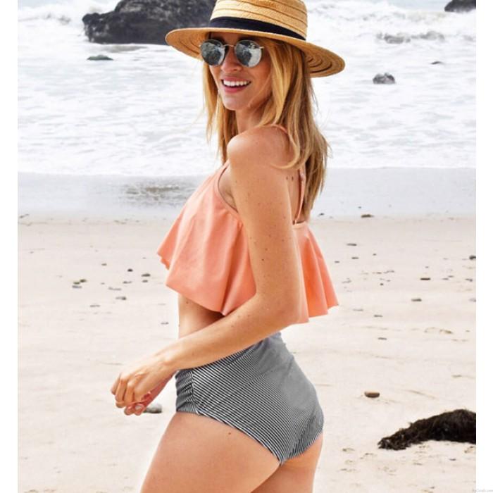 Sexy Rosa Rüschen Striped High Waist Bikini Damen Badeanzug