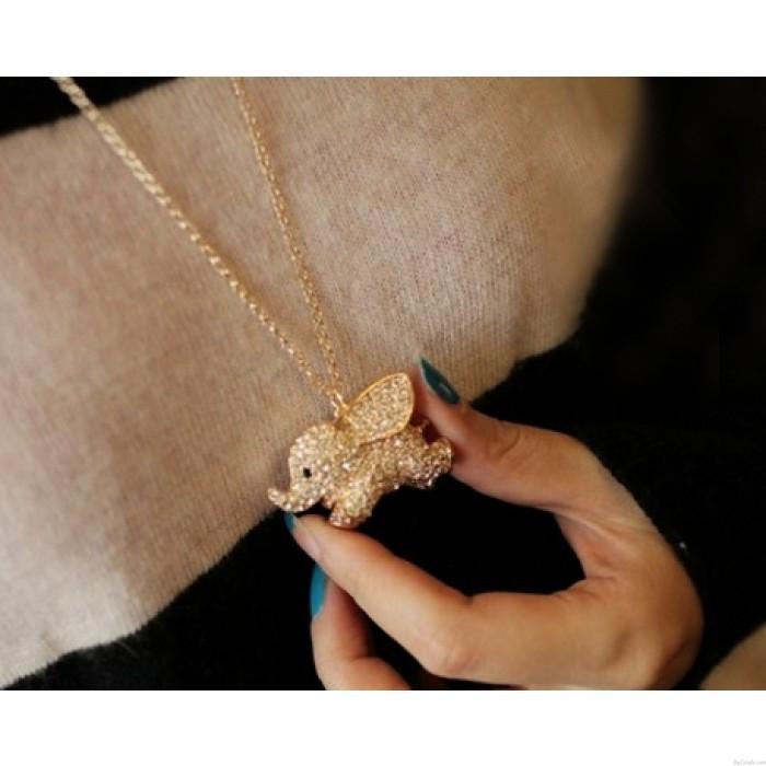 Super Niedlich Baby Elefant Tier Anhänger Halskette