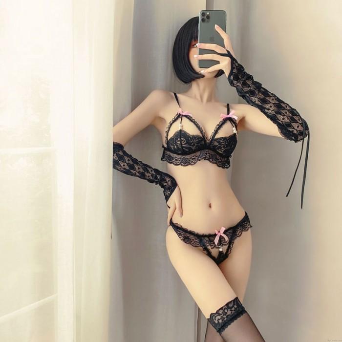 Sexy Perle Bowknot Unterwäsche BH Panty 2-teiliges Set Gittergewebe Cosplay Frech Spitze Dienstmädchen-Dessous