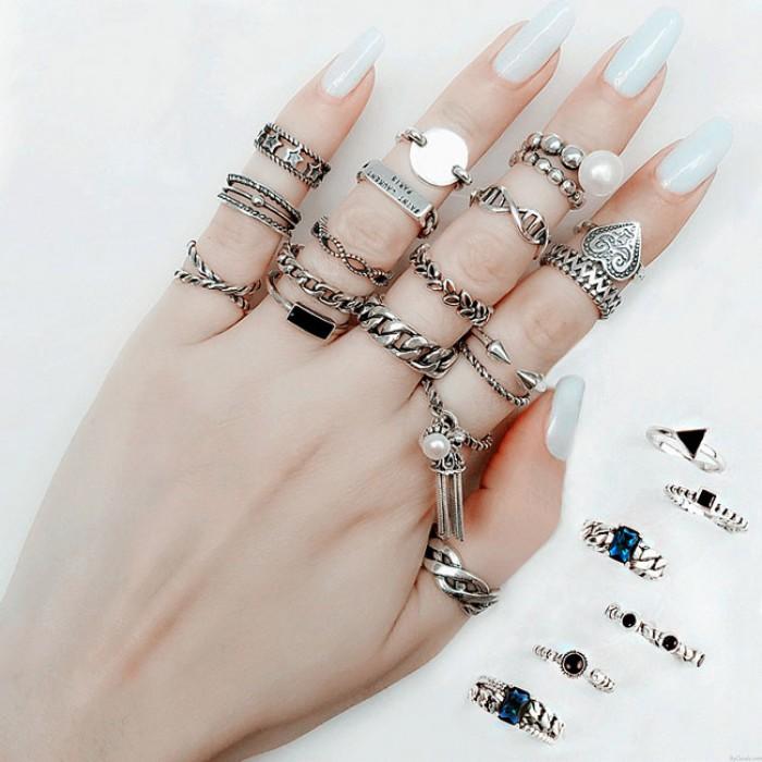 Retro Einfach Quaste Weben Blatt Knöchel Midi Frau Silber Öffnen Ring