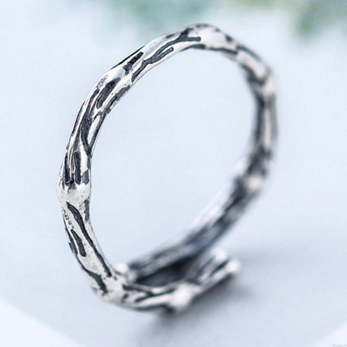 Vintage Silber Frauen Ringe Retro Ast Öffne den Ring