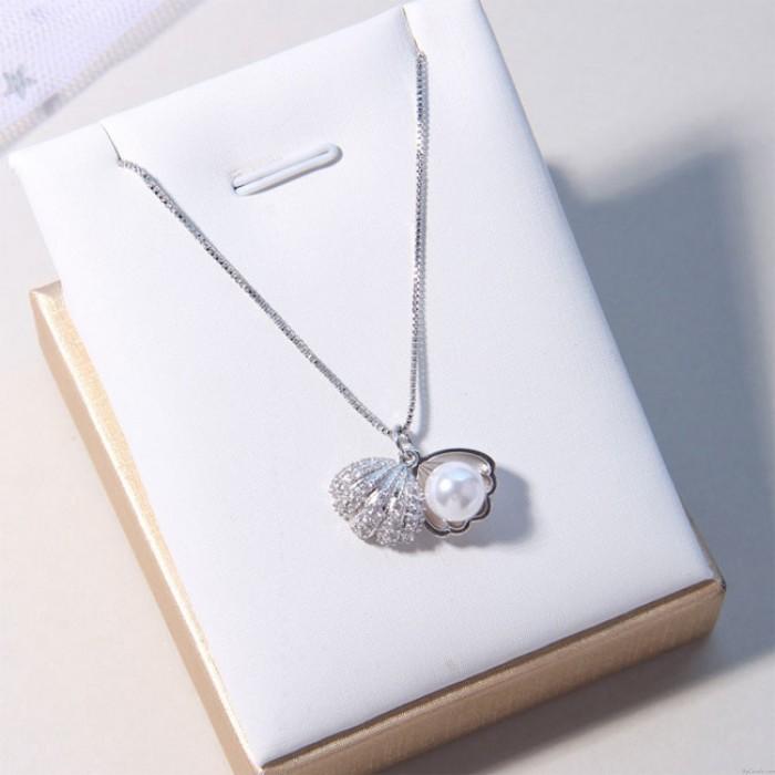 Frische Muschel Perle Silber Halskette Freund Geschenk Frauen Halskette