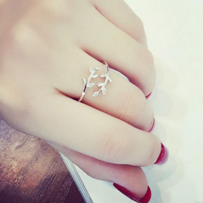 Nette Liebes-Herz-Blatt-Blumen-Fox-Perlen-Frauen-Zubehör-offene Ringe