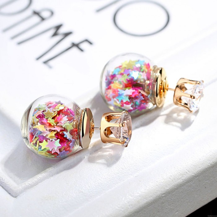 Bunte Crystal Bubble Transparent Ball Frauen Ohrstecker