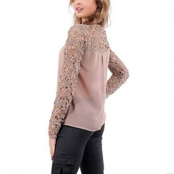 Art und Weise Höhlt Crochet Langarm Spitze Chiffon Blusen Oberseiten