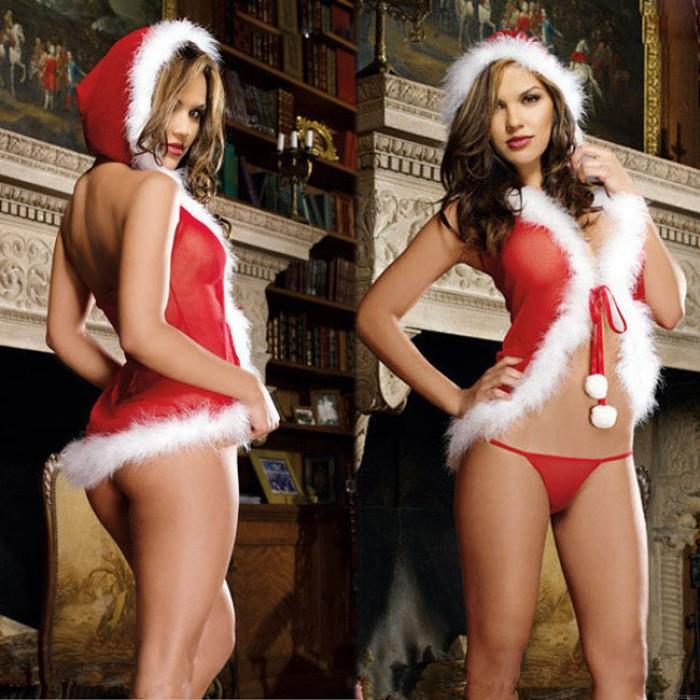 Sexy Plüsch Einteiliger Hut Rote Weihnachtsfrauen Dessous