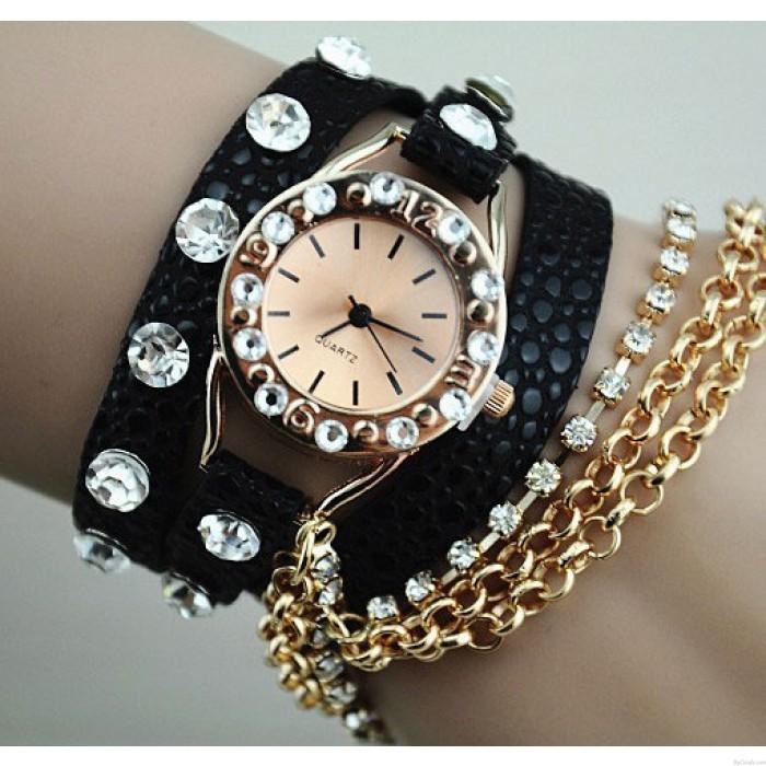 Volle Rhinestone-Leder Metall-Armband-Uhr