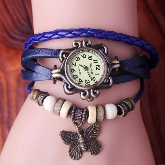 Retro Schmetterling Leder Armband Uhren