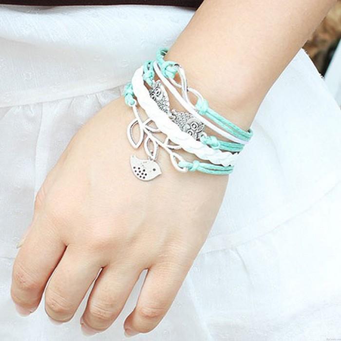 Glücklicher Olivenzweig Unendlichkeit Eule Armband