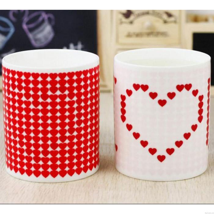 Schönes Geschenk Farbwechsel Becher Red Heart Pattern Cup