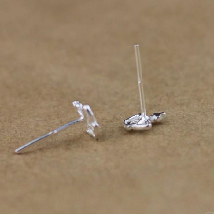 Nette Kronen Silber Ohrring Bolzen