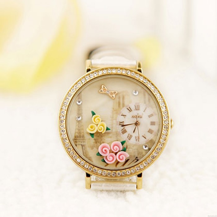 Retro Uhr des Paris Tower Flower Strass