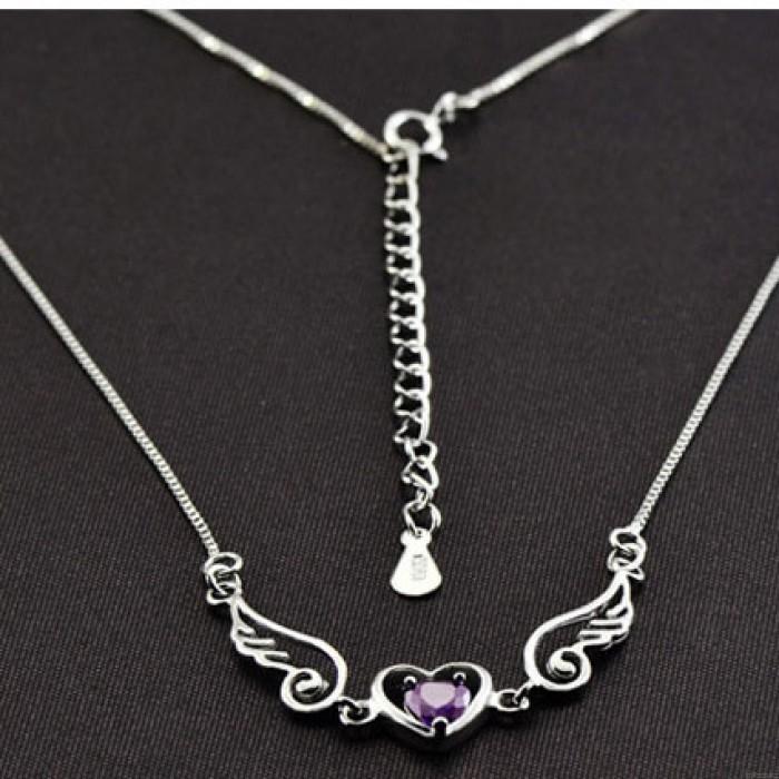 Engel Liebhaber Flügel Herz Silber Halskette