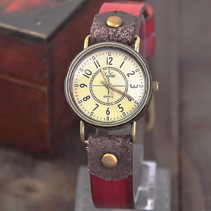 Retro- klassische Quarz kortikale lederne Frauen-wasserdichte Armbanduhr