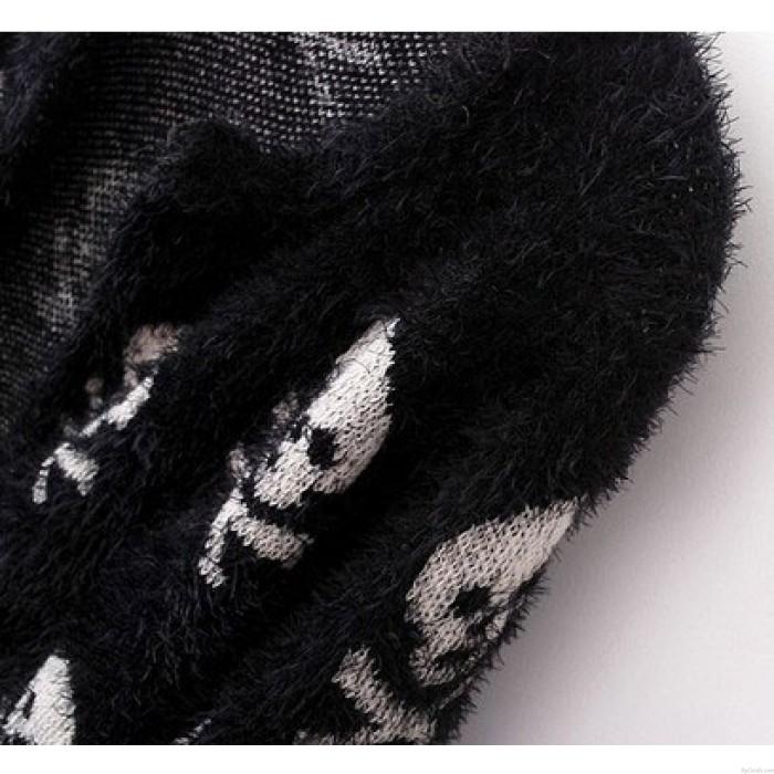 Printed Skeleton Hairy beiläufige Strickjacke