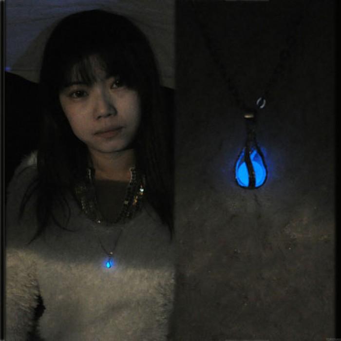 Original versilbert glühende Perle Luminous Ball Drop Anhänger Halskette