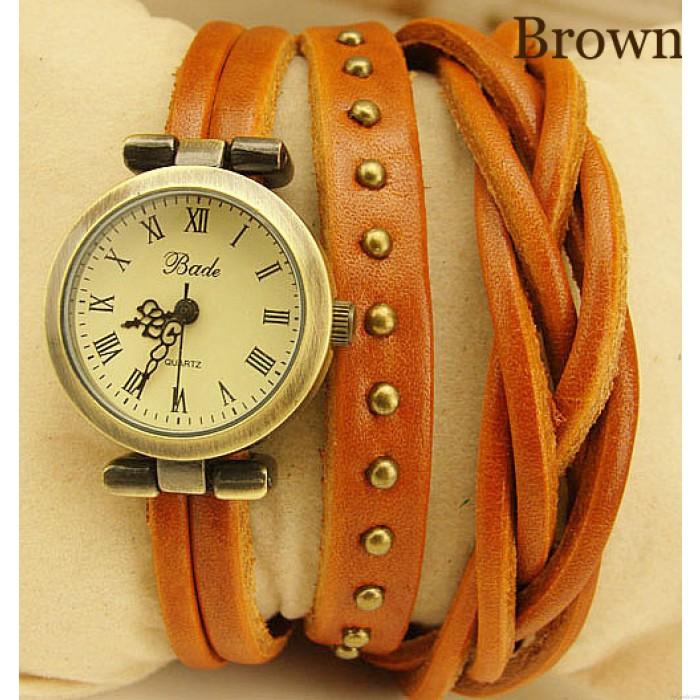 Die Twist-Geflechtwicklung Rome Leather Wrap Watch-brown