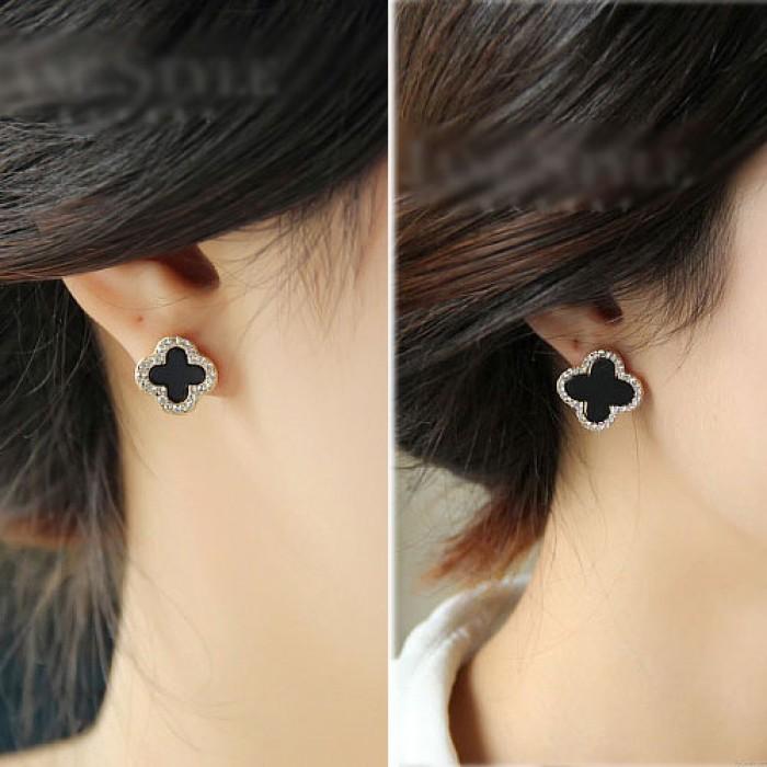 Schwarz Klee-Diamant-Mode-Schmuck Silber Nadel hypoallergen Ohrringe