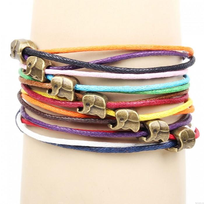 Niedlich Elefant Bunt Seil Armband