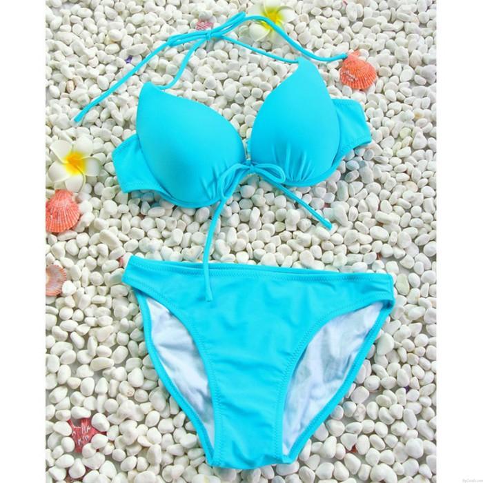 Sexy Blau Mit Bogen Versammeln Bikini