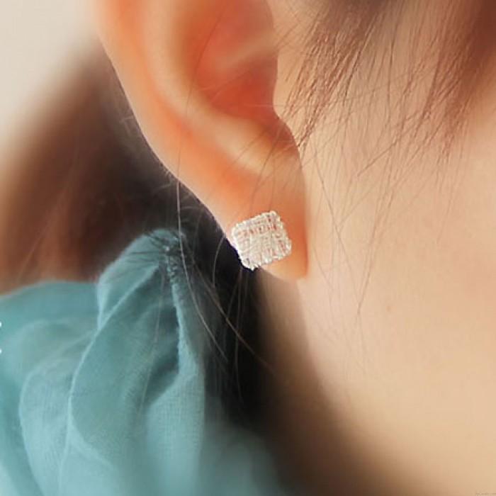 Süß Herz Platz Anti-Allergie- Studs Silber Draht Zeichnung Ohrring