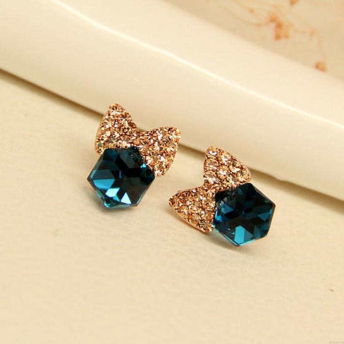 Bling Diamant-Bogen Crystal Cube Silver Needle Süße Ohrstecker